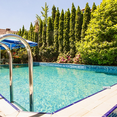 Summer garden with swimming pool
